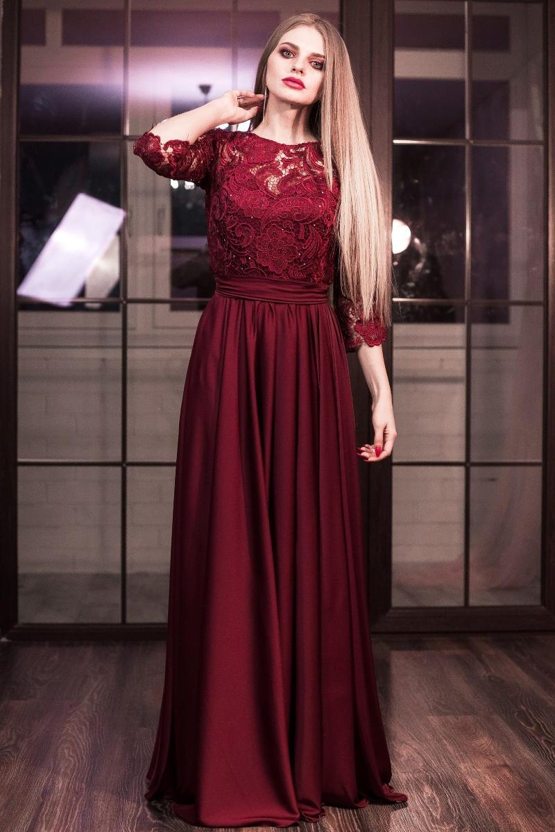 a24e17969f9 Вечернее платье в пол вишневого цвета с кружевным верхом и рукавами 3 4  купить в