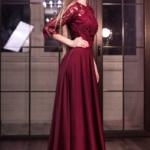 Вечернее платье в пол вишневого цвета с кружевным верхом и рукавами 3/4 d00337ch-2