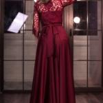 Вечернее платье в пол вишневого цвета с кружевным верхом и рукавами 3/4 zd00337ch-3