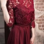 Вечернее платье в пол вишневого цвета с кружевным верхом и рукавами 3/4 zd00337ch-4