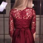 Вечернее платье в пол вишневого цвета с кружевным верхом и рукавами 3/4 zd00337ch-5