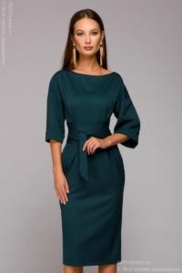 Зеленое платье миди с широким поясом купить в Воронеже