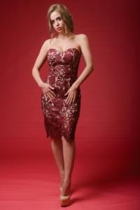 Бежевое платье-футляр с корсетным верхом и вишневым кружевом купить в интернет-магазине