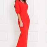 Длинное красное платье по фигуре с разрезом сзади и пышными рукавами sz00028rd-1
