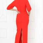 Длинное красное платье по фигуре с разрезом сзади и пышными рукавами sz00028rd-2