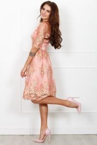 Заказать Коктейльное платье миди нежно-розового цвета с цветочной вышивкой с бесплатной доставкой по России