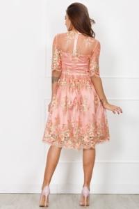 Купить Коктейльное платье миди нежно-розового цвета с цветочной вышивкой в магазине женской одежды в Воронеже