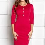 Малиновое платье-футляр длины миди с рукавами 3/4 sz00104pk-1