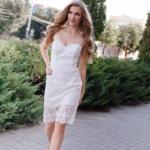 Молочное платье-футляр с корсетным верхом и кружевом zd00336wh-1