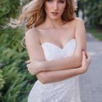 Молочное платье-футляр с корсетным верхом и кружевом zd00336wh-2