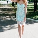 Мятное платье-футляр с корсетным верхом и молочным кружевом zd00336mn-1