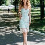 Мятное платье-футляр с корсетным верхом и молочным кружевом zd00336mn-2
