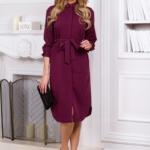 Платье-рубашка длины миди бордового цвета с длинными рукавами vv51525bo-2