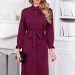 Платье-рубашка длины миди бордового цвета с длинными рукавами vv51525bo-3