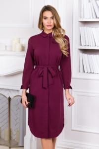 Заказать Платье-рубашка длины миди бордового цвета с длинными рукавами с бесплатной доставкой по России