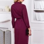 Платье-рубашка длины миди бордового цвета с длинными рукавами vv51525bo-4