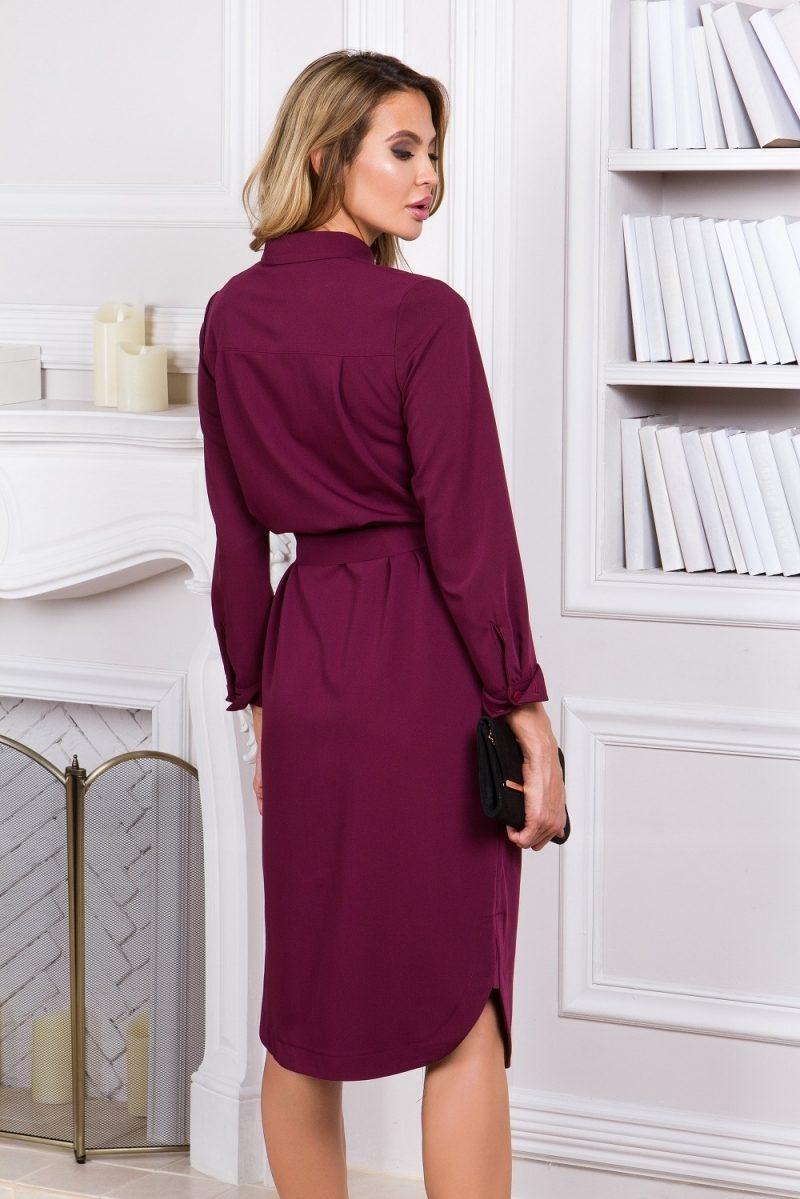 Купить Платье-рубашка длины миди бордового цвета с длинными рукавами в магазине женской одежды в Воронеже