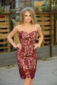 Платье-трансформер 2 в 1: футляр бордового цвета + юбка в пол цвета пудры купить в интернет-магазине