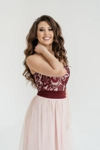 Купить Платье-трансформер 2 в 1: футляр бордового цвета + юбка в пол цвета пудры в магазине женской одежды в Воронеже