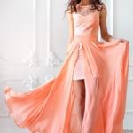 Платье-трансформер 2 в 1 персикового цвета sz00030pc-1