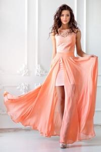 Платье-трансформер 2 в 1 персикового цвета купить в Воронеже