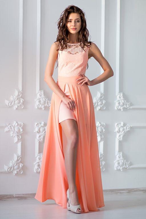 Заказать Платье-трансформер 2 в 1 персикового цвета с бесплатной доставкой по России
