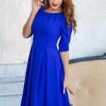 Платье цвета электрик длины миди с пышной юбкой и рукавами 3/4 sz00100bl-1