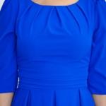 Платье цвета электрик длины миди с пышной юбкой и рукавами 3/4 sz00100bl-3