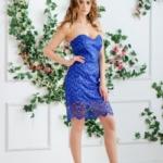 Синее платье-футляр с корсетным верхом и кружевом zd00336bl-1