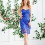 Синее платье-футляр с корсетным верхом и кружевом zd00336bl-2