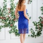 Синее платье-футляр с корсетным верхом и кружевом zd00336bl-3