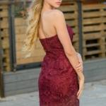 Вишневое платье-футляр с корсетным верхом и кружевом zd00336ch-2
