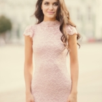 Вечернее гипюровое платье «рыбка» пудрового цвета zd00311pw-2