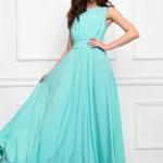 Вечернее платье в пол мятного цвета с пышной юбкой без рукавов sz00036MN-1