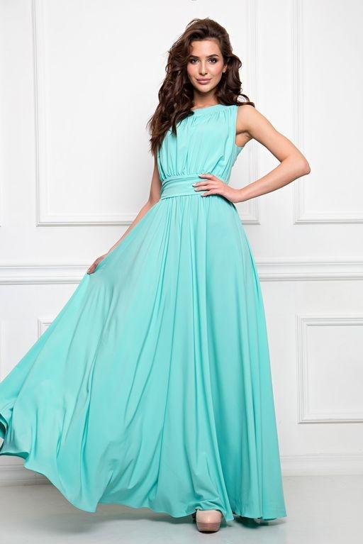 fc526937b24 Вечернее платье в пол мятного цвета с пышной юбкой без рукавов купить в  Воронеже