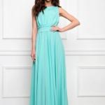Вечернее платье в пол мятного цвета с пышной юбкой без рукавов sz00036MN-2