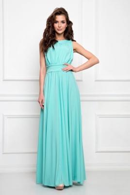 Вечернее платье в пол мятного цвета с пышной юбкой без рукавов купить в интернет-магазине