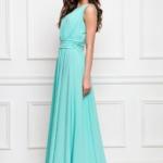 Вечернее платье в пол мятного цвета с пышной юбкой без рукавов sz00036MN-3