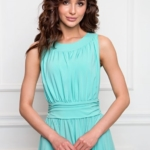 Вечернее платье в пол мятного цвета с пышной юбкой без рукавов sz00036MN-4