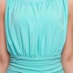 Вечернее платье в пол мятного цвета с пышной юбкой без рукавов sz00036MN-5