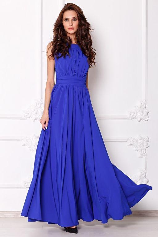 Вечернее платье в пол цвета электрик с пышной юбкой без рукавов sz00036bl-1