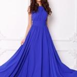 Вечернее платье в пол цвета электрик с пышной юбкой без рукавов sz00036bl-2
