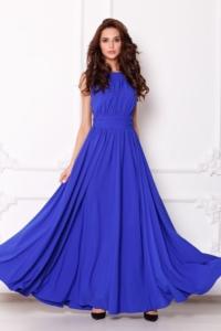 Вечернее платье в пол цвета электрик с пышной юбкой без рукавов купить в интернет-магазине