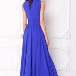 Вечернее платье в пол цвета электрик с пышной юбкой без рукавов sz00036bl-3