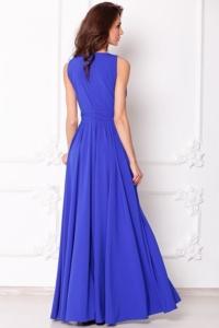 Заказать Вечернее платье в пол цвета электрик с пышной юбкой без рукавов с бесплатной доставкой по России