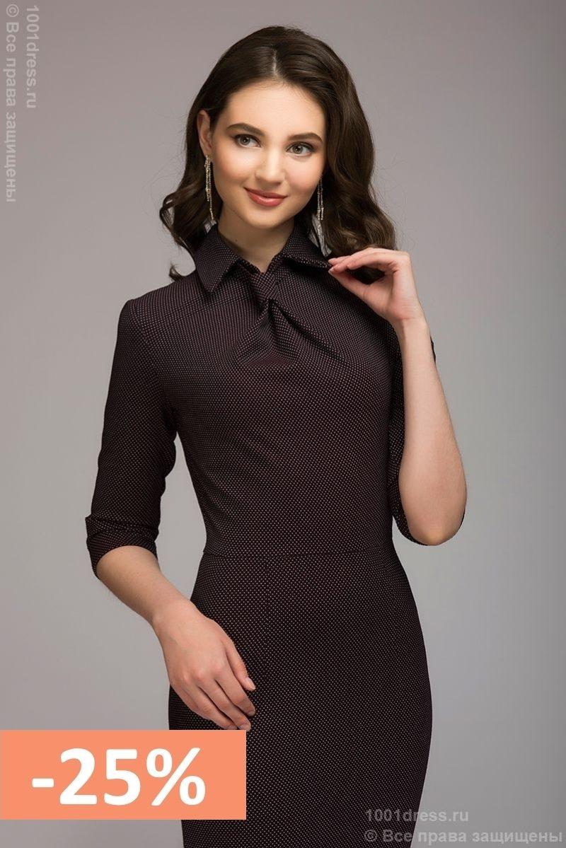 b6c5d3795b9 Бордовое платье-футляр с имитацией галстука