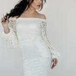 Белое гипюровое платье с открытыми плечами и пышными рукавами zd00363wh-1