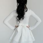 Белое платье мини с 2-ярусной юбкой и длинными рукавам иd02051wh-3