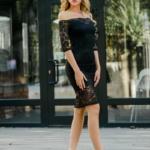 Черное гипюровое платье длины миди с открытыми плечами zd01995bk-1