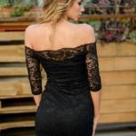 Черное гипюровое платье длины миди с открытыми плечами zd01995bk-3